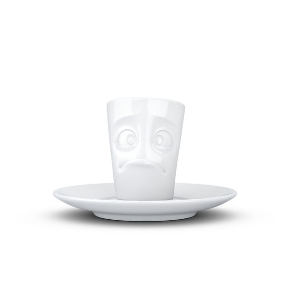 Biely sklamaný porcelánový hrnček na espresso s tanierikom 58products, objem 80 ml