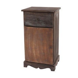 Hnědý dřevěný noční stolek Mendler Shabby