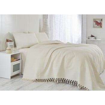 Cuvertură subțire pentru pat single Saheser Pique Cream, 180x240cm
