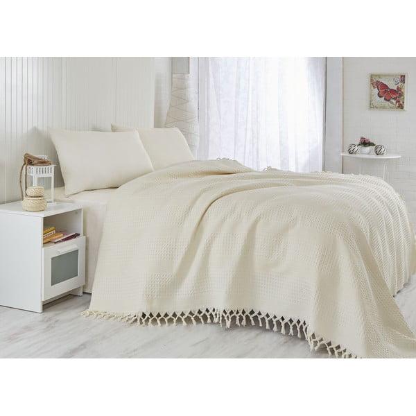 Pique Cream könnyű ágytakaró egyszemélyes ágyhoz, 180 x 240 cm - Saheser