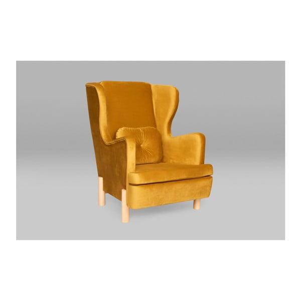 Oranžové křeslo ušák SKANDICA Ingrid Gold