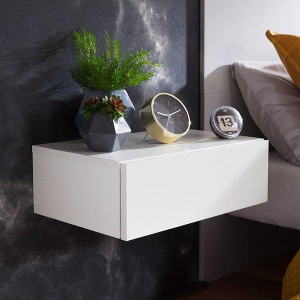 Bílý nástěnný noční stolek Skyport Wohnling Dream