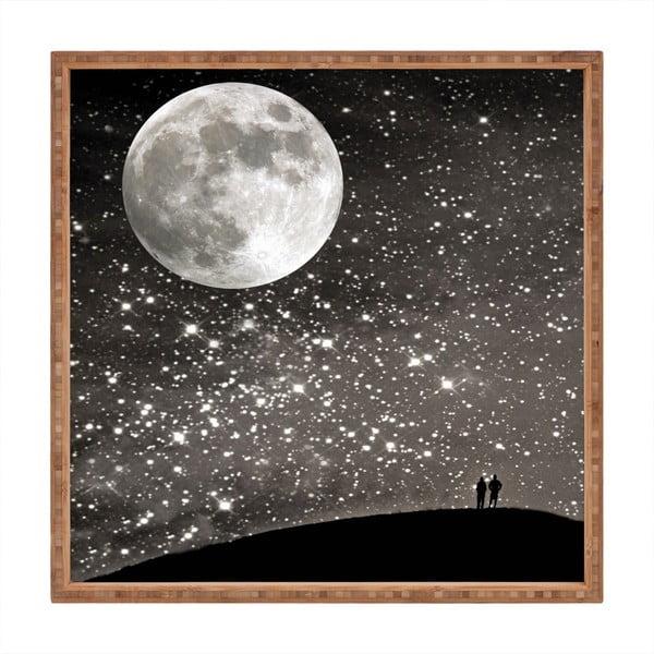 Tavă decorativă din lemn Moon, 40x40cm