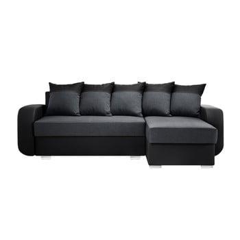 Canapea cu șezlong partea dreaptă Interieur De Famille Paris Destin negru antracit