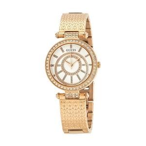 Dámské hodinky v růžovozlaté barvě s páskem z nerezové oceli Guess W1008L3