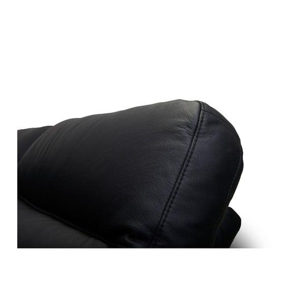 Canapea pe colț, din piele, Furnhouse Hampton Wide, negru