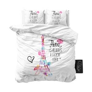 Lenjerie de pat din micropercal Sleeptime Paris, 200 x 220 cm, alb