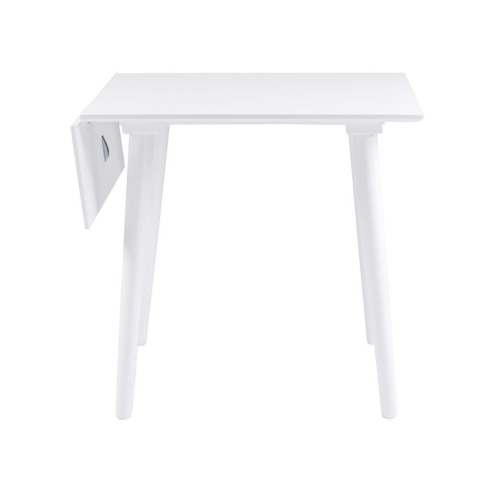 Bílý jídelní stůl z masivního dubového dřeva Folke Lotte Leaf, 80x80cm