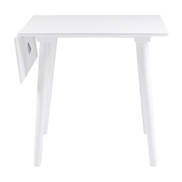 Bílý jídelní stůl z masivního dubového dřeva Rowico Lotte Leaf, 80x80cm