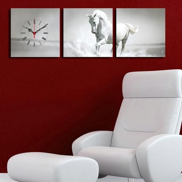 Obrazové hodiny Bílý kůň