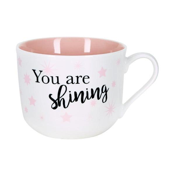 Cană din ceramică Miss Étoile Stars, alb - roz