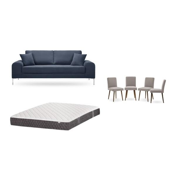Set canapea albastru închis cu 3 locuri, 4 scaune gri, o saltea 160 x 200 cm Home Essentials