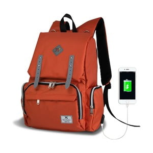 Oranžový batoh pro maminky s USB portem My Valice MOTHER STAR Baby Care Backpack