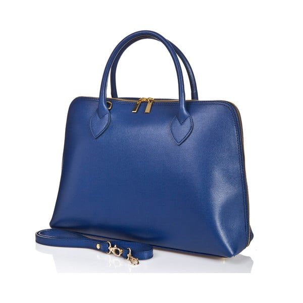 Modrá kožená kabelka Massimo Castelli Liana