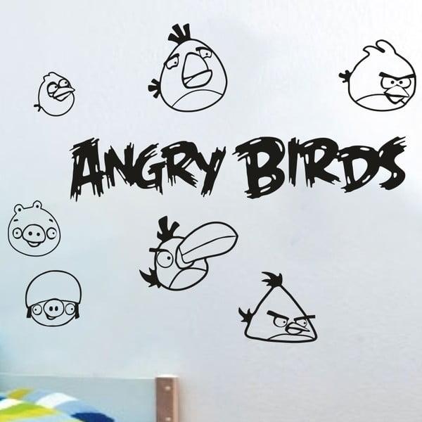 Samolepka na stěnu Angry birds, černá