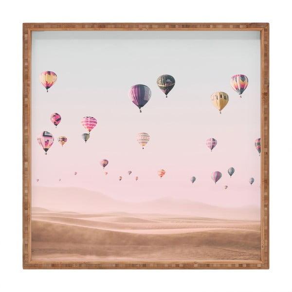 Tavă decorativă din lemn Flying Ballons, 40x40cm