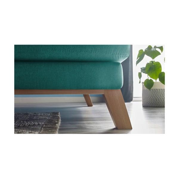Tyrkysová třímístná pohovka s lenoškou Bobochic Paris Seattle, pravý roh