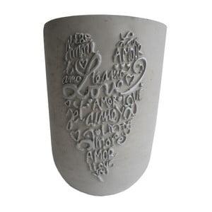 Šedá váza Stardeco Srdcem 24 cm