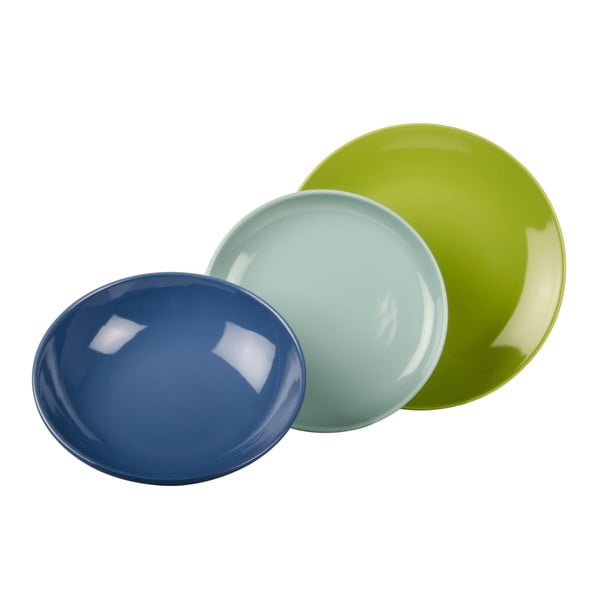 18dílná sada talířů Kaleidos, modro-zelená