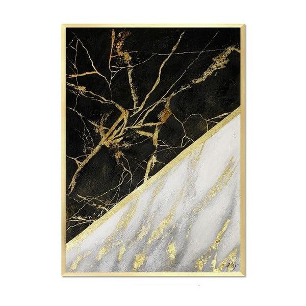 Nástěnný ručně malovaný obraz JohnsonStyle White & White Marble, 53 x 73 cm