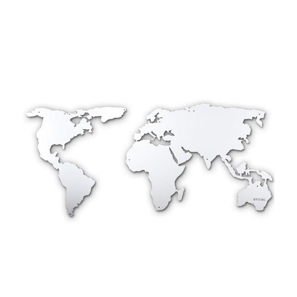 Nástěnná kovová dekorace Silver Map, 60x120 cm
