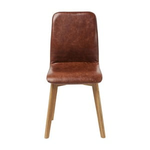 Hnědá kožená židle Kare Design Lara