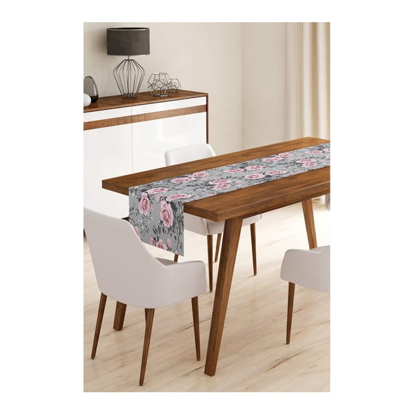 Běhoun na stůl z mikrovlákna Minimalist Cushion Covers Grey Roses, 45x145cm