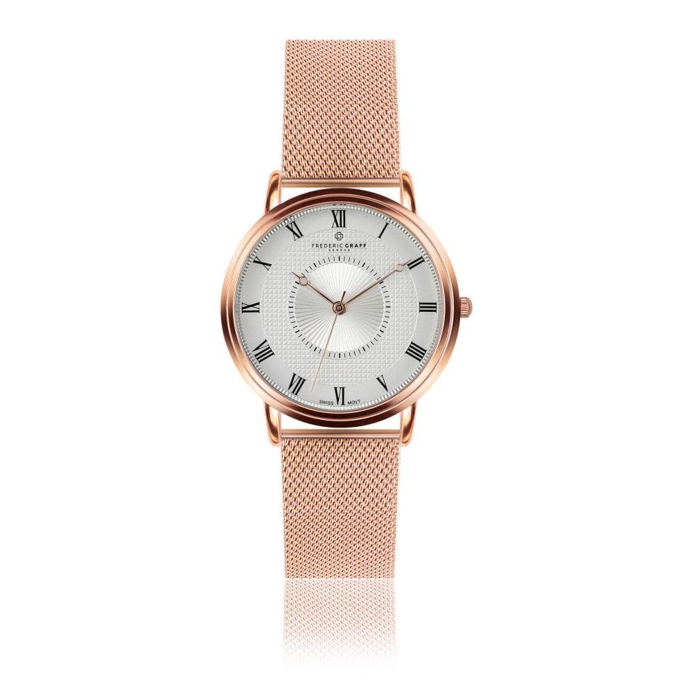 Unisex hodinky s páskem z nerezové oceli v růžovozlaté barvě Frederic Graff Rose Grand Combin Rose Gold Mesh