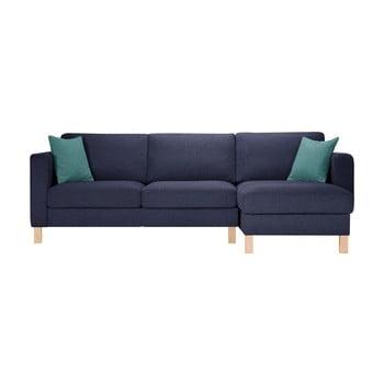 Canapea cu șezlong pe partea dreaptă și 2 perne Stella Cadente Maison Canoa bleumarin-albastru deschis