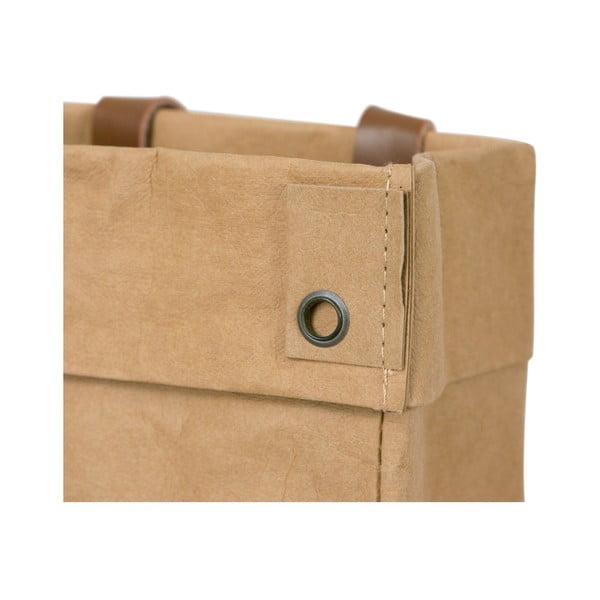 Coș de depozitare din hârtie lavabilă și piele Furniteam Home, maro