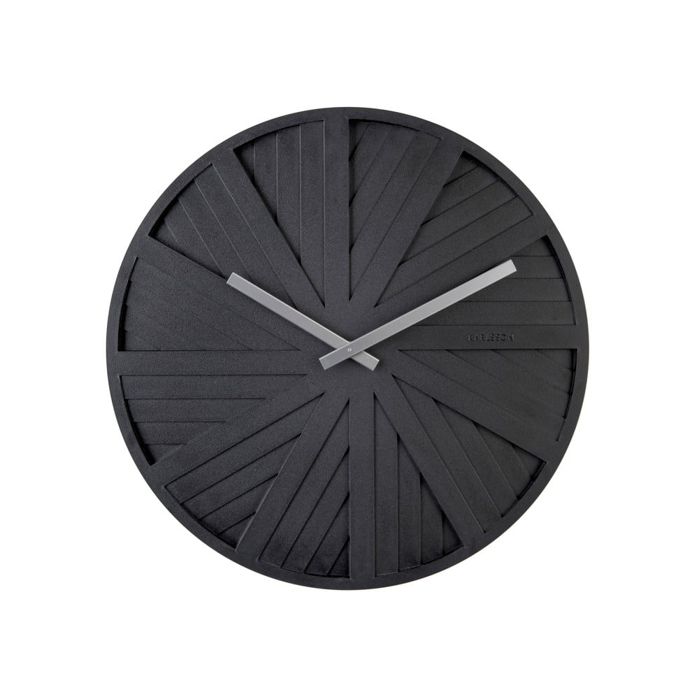 Černé nástěnné hodiny PT LIVING Slides, ø 40 cm