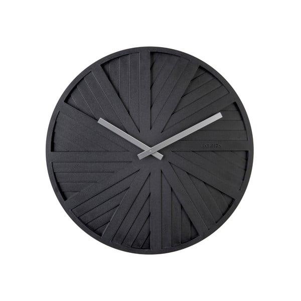 Černé nástěnné hodiny Karlsson Slides, ø 40 cm