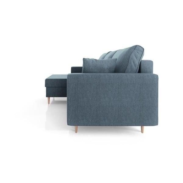 Modrá čtyřmístná rozkládací pohovka s úložným prostorem Mazzini Sofas Aubrieta, levý roh