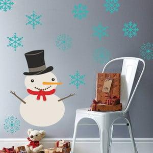 Samolepka na stěnu Sněhulák s vločkami, 90x60 cm