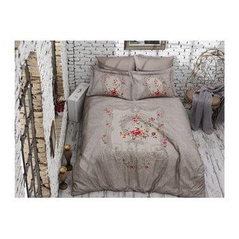 Lenjerie de pat din bumbac satinat și cearșaf Lilyanna, 200 x 220 cm de la Unknown