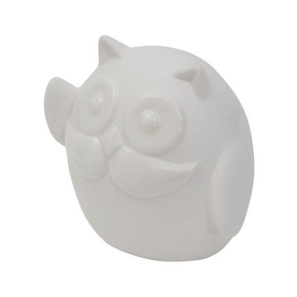 Bílá porcelánová dekorativní soška Mauro Ferretti Gufo Hello, výška 8,5 cm