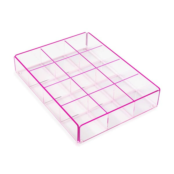 Pink úložný box s 12 přihrádkami Versa Ariel
