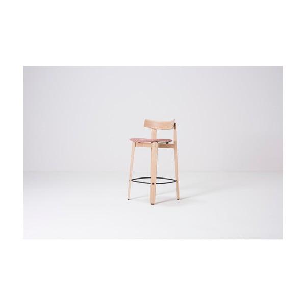 Nízká barová židle z dubového dřeva s opěrkou Gazzda Nora