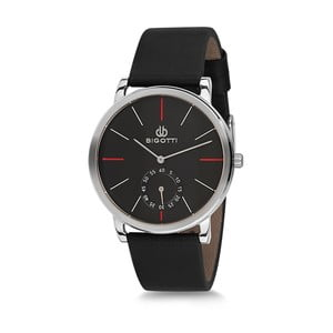 Pánské hodinky s černým koženým řemínkem Bigotti Milano Thomas