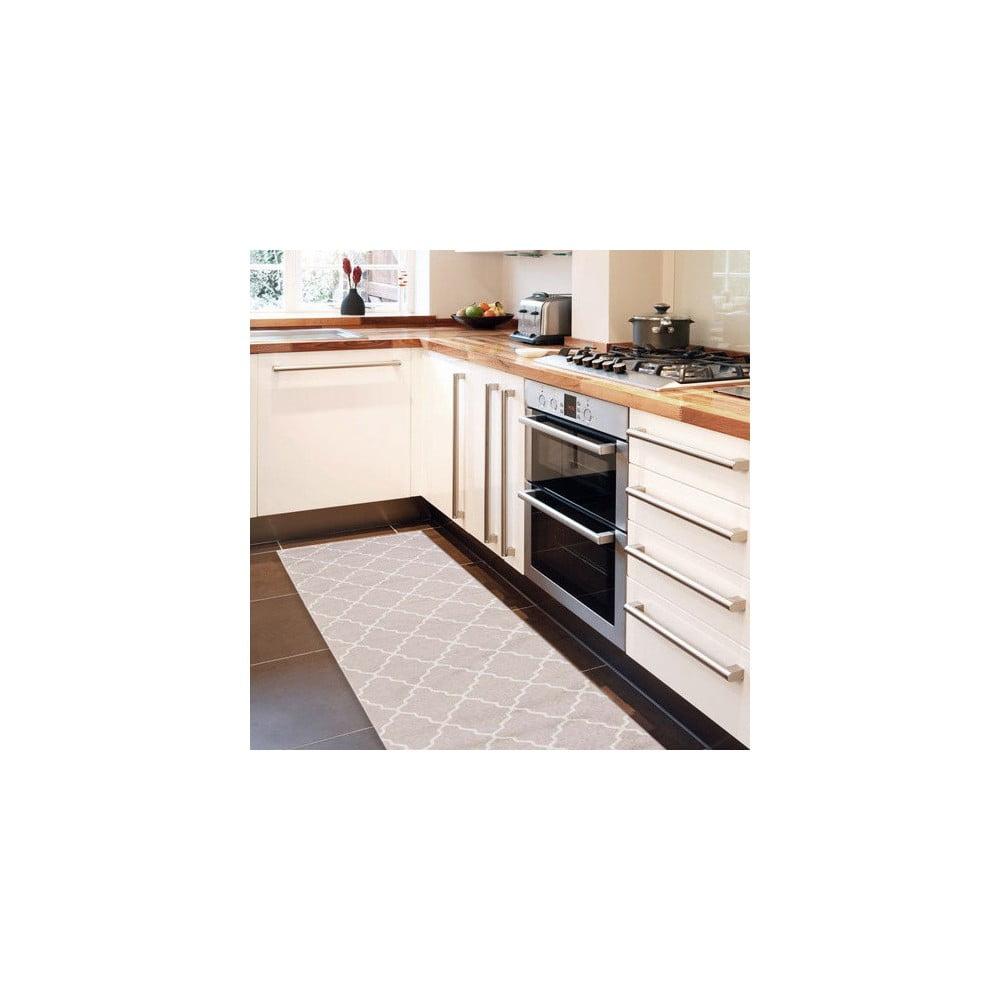 Vysoce odolný kuchyňský běhoun Webtappeti Lattice Sand, 60 x 220 cm
