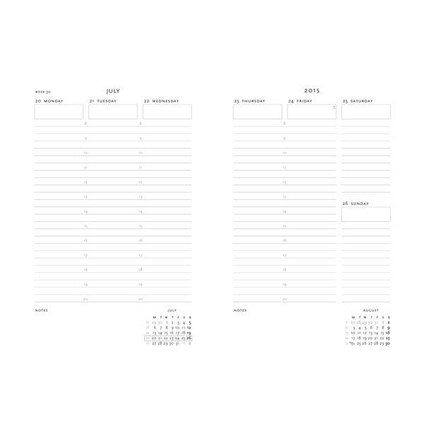 Diář pro rok 2015 Ocean Song 13x8 cm, vertikální výpis dnů