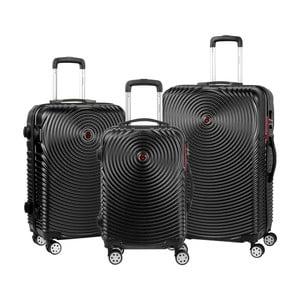 Sada 3 černých cestovních kufrů na kolečkách Murano Traveller