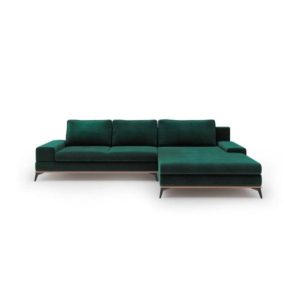 Lahvově zelená rozkládací rohová pohovka se sametovým potahem Windsor & Co Sofas Astre, pravýroh