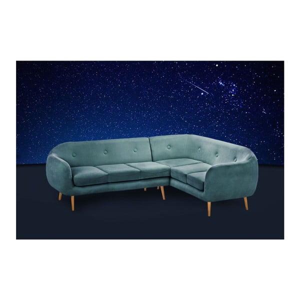 Tyrkysová pohovka Stella Grand s lenoškou na pravé straně