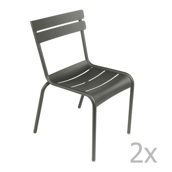 Sada 2 šedých židlí Fermob Luxembourg