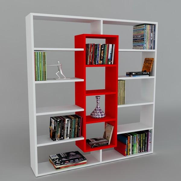 Knihovna Ample White/Red, 22x125x135,7 cm