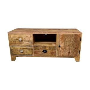 TV stolek z masivního mangového dřeva se 3 zásuvkami Massive Home Ella