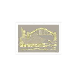 Plakát Sydney Grey&Yellow, 50x70 cm