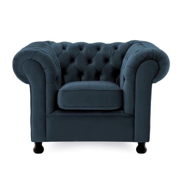 Granatowy fotel Vivonita Chesterfield