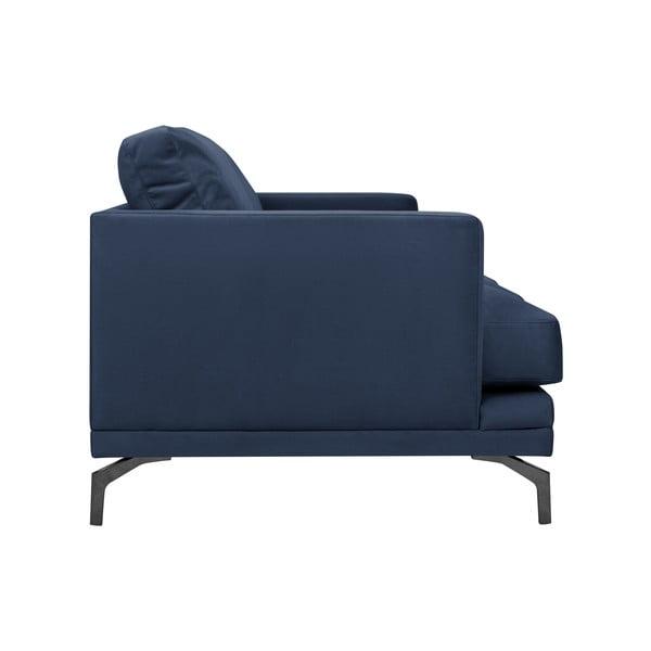 Tmavě modrá trojmístná pohovka s podnožím v černé barvě Windsor & Co Sofas Jupiter